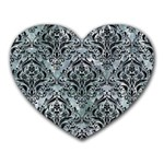 DAMASK1 BLACK MARBLE & ICE CRYSTALS Heart Mousepads