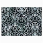 DAMASK1 BLACK MARBLE & ICE CRYSTALS Large Glasses Cloth