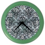 DAMASK1 BLACK MARBLE & ICE CRYSTALS Color Wall Clocks