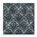 DAMASK1 BLACK MARBLE & ICE CRYSTALS Face Towel