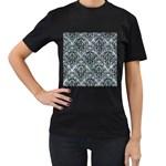 DAMASK1 BLACK MARBLE & ICE CRYSTALS Women s T-Shirt (Black)
