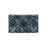 DAMASK1 BLACK MARBLE & ICE CRYSTALS Cosmetic Bag (Small)