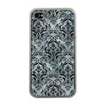 DAMASK1 BLACK MARBLE & ICE CRYSTALS Apple iPhone 4 Case (Clear)