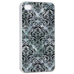 DAMASK1 BLACK MARBLE & ICE CRYSTALS Apple iPhone 4/4s Seamless Case (White)