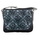 DAMASK1 BLACK MARBLE & ICE CRYSTALS Messenger Bags
