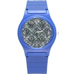 DAMASK1 BLACK MARBLE & ICE CRYSTALS Round Plastic Sport Watch (S)
