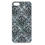 DAMASK1 BLACK MARBLE & ICE CRYSTALS Apple Seamless iPhone 5 Case (Clear)
