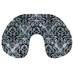 DAMASK1 BLACK MARBLE & ICE CRYSTALS Travel Neck Pillows