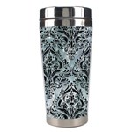 DAMASK1 BLACK MARBLE & ICE CRYSTALS Stainless Steel Travel Tumblers