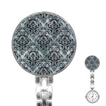 DAMASK1 BLACK MARBLE & ICE CRYSTALS Stainless Steel Nurses Watch