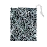 DAMASK1 BLACK MARBLE & ICE CRYSTALS Drawstring Pouches (Large)