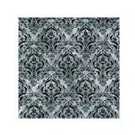 DAMASK1 BLACK MARBLE & ICE CRYSTALS Small Satin Scarf (Square)