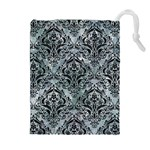 DAMASK1 BLACK MARBLE & ICE CRYSTALS Drawstring Pouches (Extra Large)