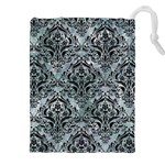 DAMASK1 BLACK MARBLE & ICE CRYSTALS Drawstring Pouches (XXL)