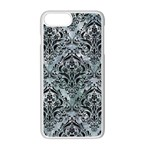 DAMASK1 BLACK MARBLE & ICE CRYSTALS Apple iPhone 7 Plus Seamless Case (White)