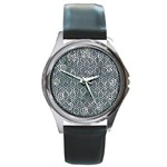 HEXAGON1 BLACK MARBLE & ICE CRYSTALS Round Metal Watch
