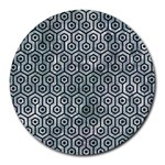 HEXAGON1 BLACK MARBLE & ICE CRYSTALS Round Mousepads