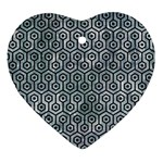 HEXAGON1 BLACK MARBLE & ICE CRYSTALS Ornament (Heart)