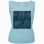 HEXAGON1 BLACK MARBLE & ICE CRYSTALS Women s Baby Blue Tank Top