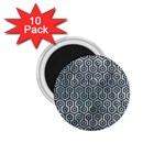 HEXAGON1 BLACK MARBLE & ICE CRYSTALS 1.75  Magnets (10 pack)