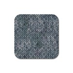 HEXAGON1 BLACK MARBLE & ICE CRYSTALS Rubber Coaster (Square)