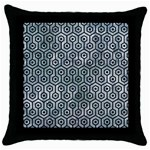 HEXAGON1 BLACK MARBLE & ICE CRYSTALS Throw Pillow Case (Black)