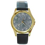 HEXAGON1 BLACK MARBLE & ICE CRYSTALS Round Gold Metal Watch