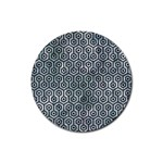 HEXAGON1 BLACK MARBLE & ICE CRYSTALS Rubber Coaster (Round)