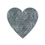 HEXAGON1 BLACK MARBLE & ICE CRYSTALS Heart Magnet