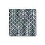 HEXAGON1 BLACK MARBLE & ICE CRYSTALS Square Magnet