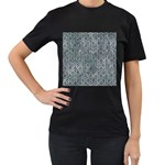 HEXAGON1 BLACK MARBLE & ICE CRYSTALS Women s T-Shirt (Black) (Two Sided)