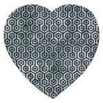 HEXAGON1 BLACK MARBLE & ICE CRYSTALS Jigsaw Puzzle (Heart)