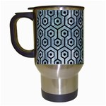 HEXAGON1 BLACK MARBLE & ICE CRYSTALS Travel Mugs (White)