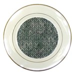 HEXAGON1 BLACK MARBLE & ICE CRYSTALS Porcelain Plates