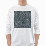 HEXAGON1 BLACK MARBLE & ICE CRYSTALS White Long Sleeve T-Shirts