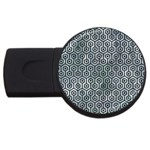 HEXAGON1 BLACK MARBLE & ICE CRYSTALS USB Flash Drive Round (4 GB)