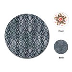 HEXAGON1 BLACK MARBLE & ICE CRYSTALS Playing Cards (Round)