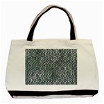 HEXAGON1 BLACK MARBLE & ICE CRYSTALS Basic Tote Bag