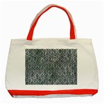 HEXAGON1 BLACK MARBLE & ICE CRYSTALS Classic Tote Bag (Red)