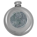 HEXAGON1 BLACK MARBLE & ICE CRYSTALS Round Hip Flask (5 oz)
