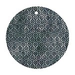 HEXAGON1 BLACK MARBLE & ICE CRYSTALS Round Ornament (Two Sides)