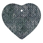HEXAGON1 BLACK MARBLE & ICE CRYSTALS Heart Ornament (Two Sides)