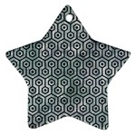 HEXAGON1 BLACK MARBLE & ICE CRYSTALS Star Ornament (Two Sides)