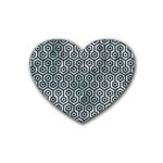 HEXAGON1 BLACK MARBLE & ICE CRYSTALS Rubber Coaster (Heart)