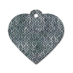 HEXAGON1 BLACK MARBLE & ICE CRYSTALS Dog Tag Heart (Two Sides)