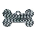 HEXAGON1 BLACK MARBLE & ICE CRYSTALS Dog Tag Bone (Two Sides)