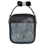HEXAGON1 BLACK MARBLE & ICE CRYSTALS Girls Sling Bags