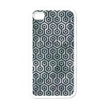 HEXAGON1 BLACK MARBLE & ICE CRYSTALS Apple iPhone 4 Case (White)