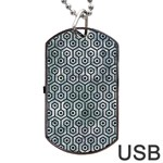 HEXAGON1 BLACK MARBLE & ICE CRYSTALS Dog Tag USB Flash (Two Sides)