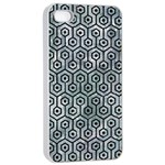 HEXAGON1 BLACK MARBLE & ICE CRYSTALS Apple iPhone 4/4s Seamless Case (White)